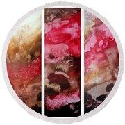 Crimson Cream Original Painting Madart Round Beach Towel