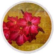 Crimson Floral Textured Round Beach Towel