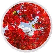 Crimson Red Leaves Background Round Beach Towel