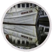Crimson Tide And Reflection Round Beach Towel