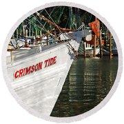 Crimson Tide Bow Round Beach Towel