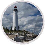 Crisp Point Lighthouse 16 Round Beach Towel