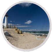 Crisp Point Lighthouse 17 Round Beach Towel