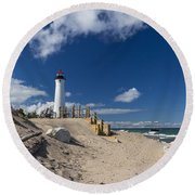 Crisp Point Lighthouse 18 Round Beach Towel