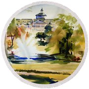 Crisp Water Fountain At The Baptist Home II Round Beach Towel