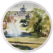 Crisp Water Fountain At The Baptist Home IIi Round Beach Towel