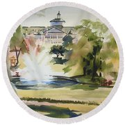 Crisp Water Fountain At The Baptist Home  Round Beach Towel by Kip DeVore