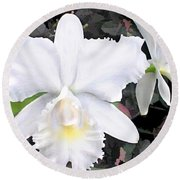 Crisp White Orchids In A Shady Garden Round Beach Towel