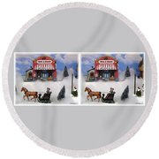 Christmas Decoration - Gently Cross Your Eyes And Focus On The Middle Image Round Beach Towel