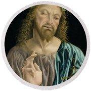 Cristo Salvator Mundi, C.1490-94 Round Beach Towel