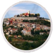Croatian City Motovun  Round Beach Towel