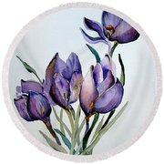 Crocus In April Round Beach Towel by Mindy Newman