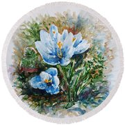 Crocuses Round Beach Towel