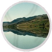 Cromwell Dam Reflections Round Beach Towel