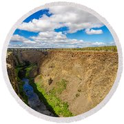 Crooked River Canyon And Bridge Round Beach Towel