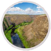 Crooked River Canyon Round Beach Towel