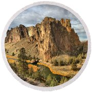 Crooked River Towers Round Beach Towel