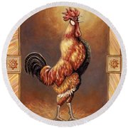 Crooner The Rooster Round Beach Towel