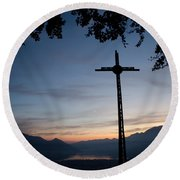 Cross On The Mountain Round Beach Towel