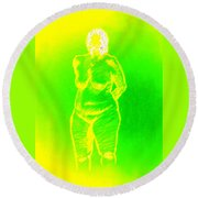 Croquis In Yellow And Green Round Beach Towel