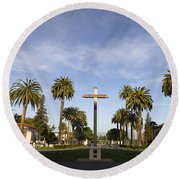 Cross And Palm Trees Mission Santa Clara Round Beach Towel