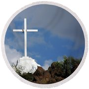 Cross At San Xavier - Tucson Round Beach Towel