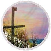 Cross At Sunset Beach Round Beach Towel