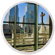 Cross At World Trade Towers Memorial Round Beach Towel