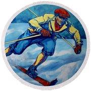 Cross Country Skier Round Beach Towel