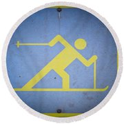 Cross Country Skiing Signboard Round Beach Towel