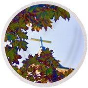 Cross Framed By Leaves Round Beach Towel