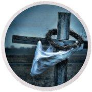 Cross In A Field Round Beach Towel