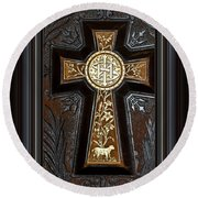 Cross In Leather Round Beach Towel