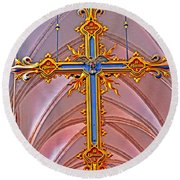 Cross Of Church Of Our Lady Round Beach Towel