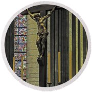 Cross Of Rouen Cathedral Round Beach Towel