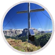 cross on Crepa Neigra peak Round Beach Towel