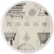 Cross Section And Architectural Details Of Kutciuk Aja Sophia The Church Of Sergius And Bacchus Round Beach Towel