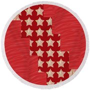 Cross Through Sparkle Stars On Red Silken Base Round Beach Towel