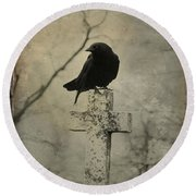 Crow On A Crooked Old Cross Round Beach Towel