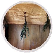 Crossbeam With Herbs Drying Round Beach Towel