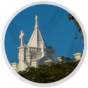 Crosses Above The Trees Round Beach Towel