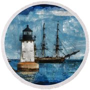 Crossing Into The Harbor Round Beach Towel