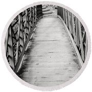 Crossing Over - Black And White Round Beach Towel