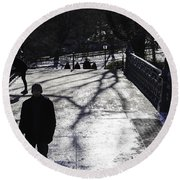Crossing Over - Central Park - Nyc Round Beach Towel
