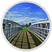 Crossing Over Bridge Round Beach Towel