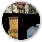 Crossing The Arno Round Beach Towel
