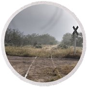 Crossing The Line Round Beach Towel