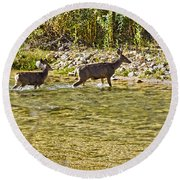 Crossing The River Round Beach Towel
