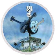 Crossroads In Clarksdale Round Beach Towel