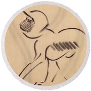 Crouching Monkey Round Beach Towel